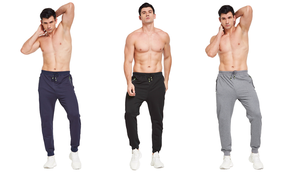 These men's jogging pants are available in three colors: black, grey and blue.