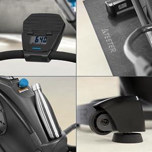 Digital Console, optional equipment mat, water bottle holder, convenient transport wheels