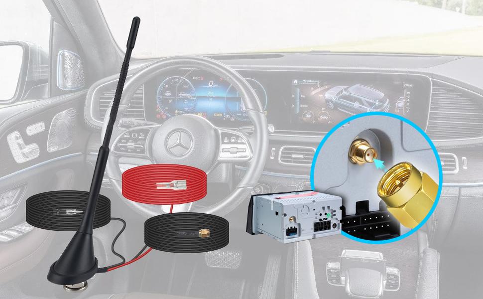 Antena de Coche Dab, Adaptador SMB Techo Universal Receptor de señal de Radio Digital Amplificador de Refuerzo FM Am/Dab + Radio Pioneer, Blaupunkt, ...