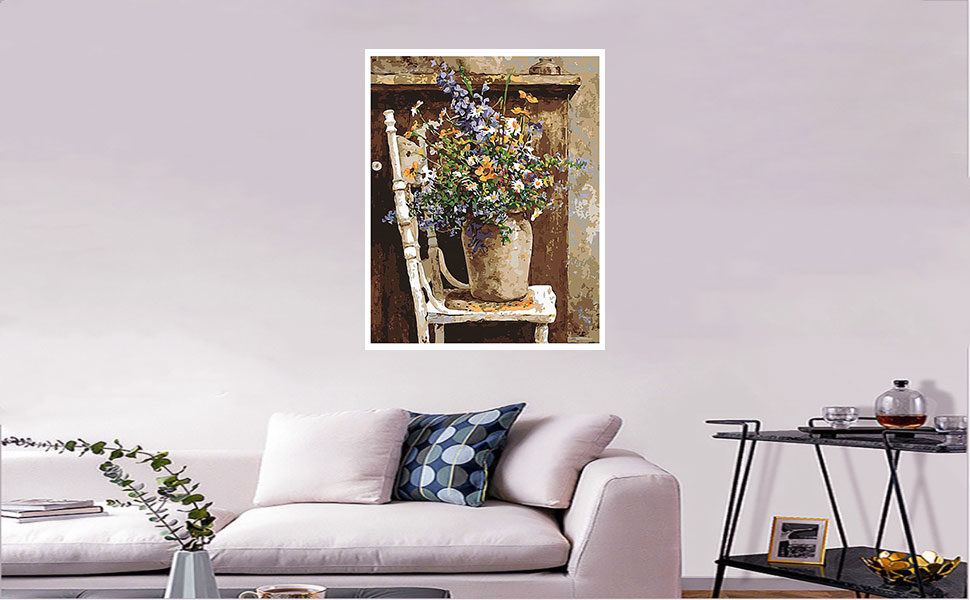 Frameless QIAOYUE Paint by Number for Monet Flower Field Adult and children painting Living room bedroom kitchen decoration canvas 40X50Cm