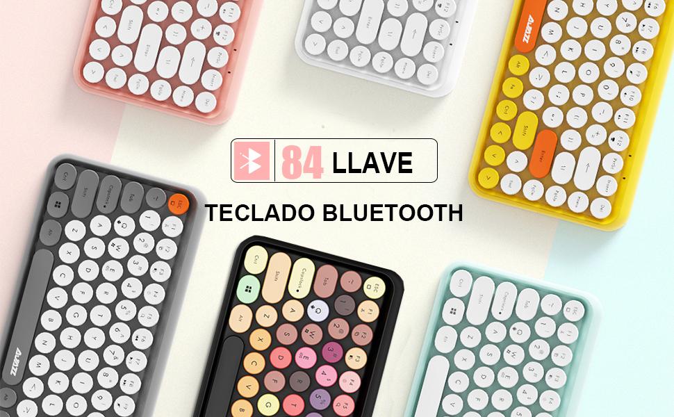 Teclado Bluetooth inalámbrico, Lindo Retro Teclado Compacto Mini de 84 Teclas, tecnología de conexión inalámbrica Bluetooth de 2,4 GHz, Teclado ...