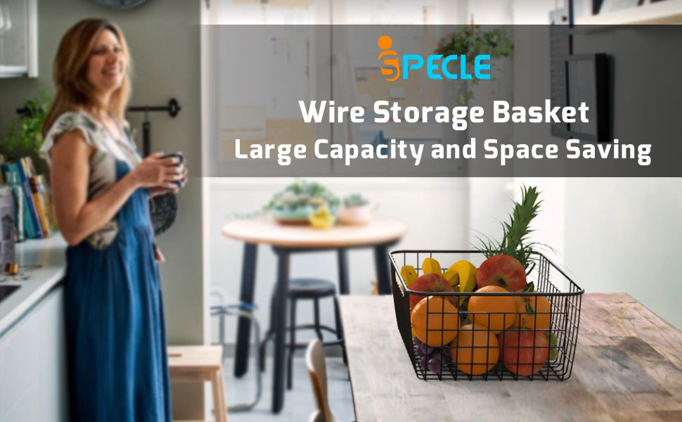 Wire storage basket perfect for storing pantry items, toys, office supplies and small appliances