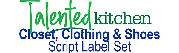 script closet clothing and shoes label set by talented kitchen