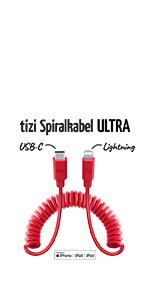 tizi Spiralkabel ULTRA USB-C auf Lightning Kabel zum Schnelladen power Delivery PD