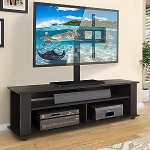 SIMBR Base TV para Televisor 27-65 con Altura Ajustable Soporte y Pedestal de Televisión para Carga Máxima 60kg/132 Libras VESA 600x400