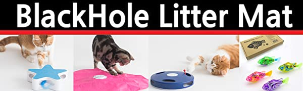 BlackHole Litter mat- Cat Toy Logo with various cat toys, cat hunting games