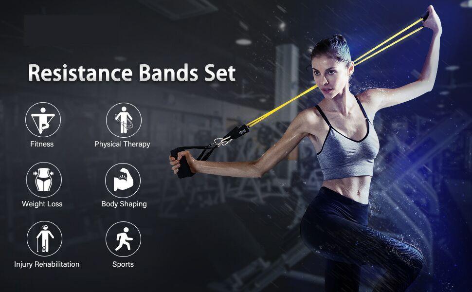 AIXMEET Bandas Elásticas, 11 Piezas Bandas de Fitness Musculacion, Resistencia al Ejercicio Tubos de Entrenamiento para Deportes Interiores o ...