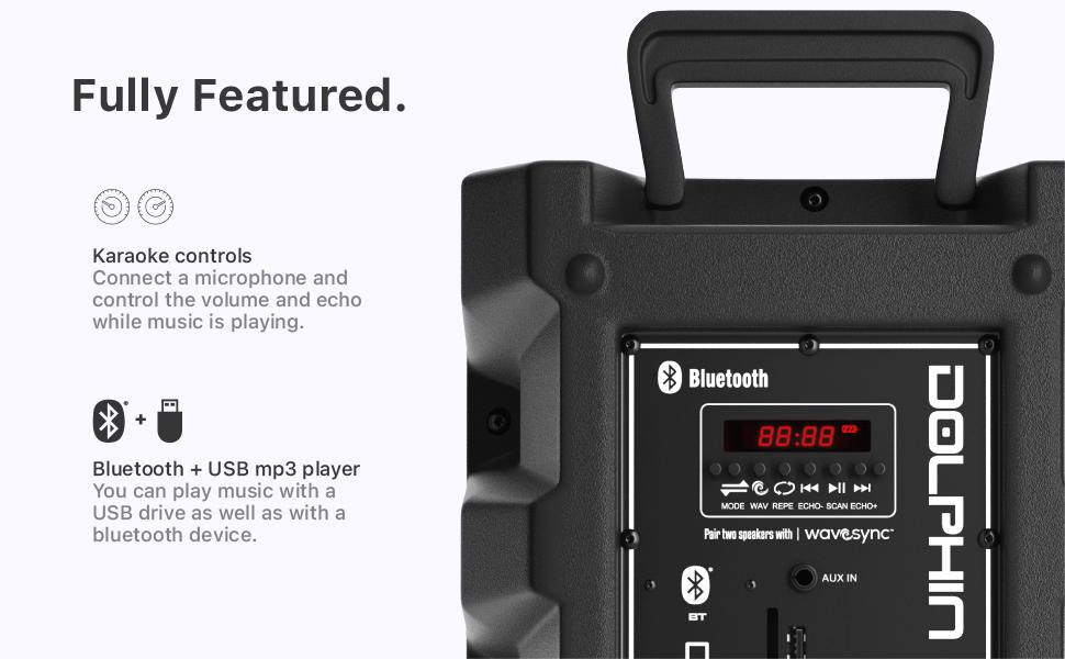 Speaker Bluetooth karaoke mp3 fm radio aux pair setup system stereo bbq outdoor portable PA lights