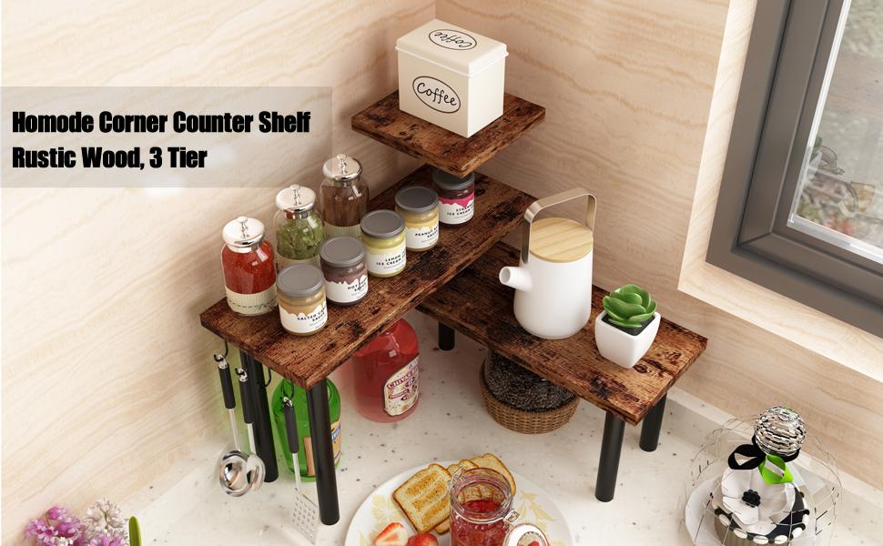 corner counter shelf rustic wood