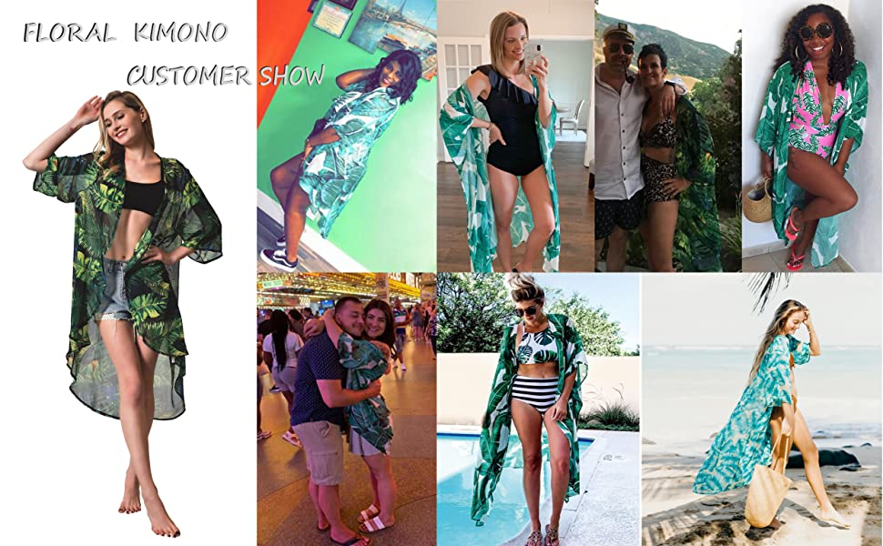 green kimono palm leaf Floral beach cover up womens gifts open front Cardigan Maxi Dress