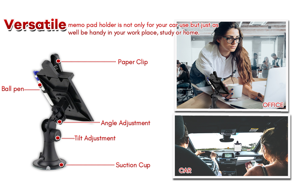 Premium Quality Car Dashboard Pen and Notebook Zone Tech Multifunctional Car Memo//Note Pad Clip Board With Pen Holder