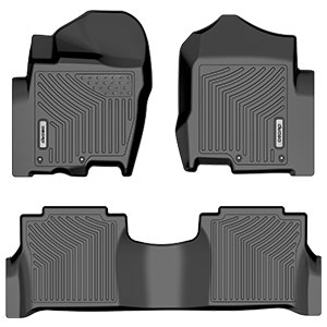 2016-2019 Titan XD Crew Cab with 1st Row Bucket Seats SMARTLINER Floor Mats 2nd Row Liner Black for 2017-2019 Nissan Titan