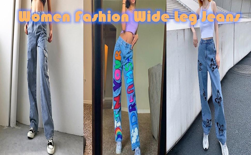 Women fashion Wide leg jeans