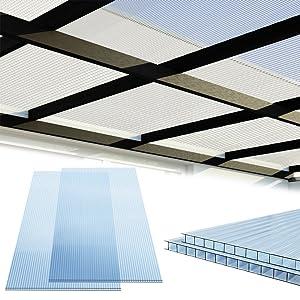 deuba plaque polycarbonate creux plaques à double paroi 4mm épaisseur jardin abri d´auto fenêtres