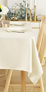 Square Tablecloth 54 x 54 Inch Striped Dark Grey Table Cover in Washable Polyester for Family Dinner