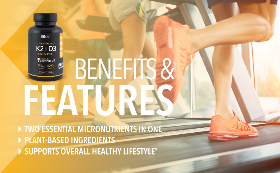 Sports Research Vitamin K2 + D3 with Organic Coconut Oil 1 Veg Softgels 2