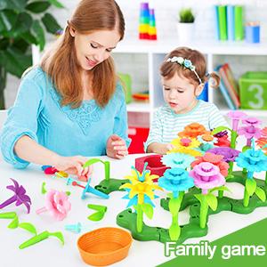 Family Game parent child interactive flower garden building toys set