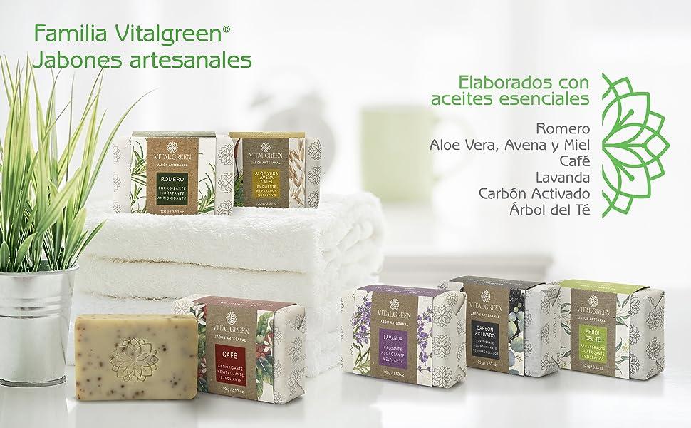 Vitalgreen jabones artesanales aceites esenciales belleza cuidado personal familiar ecológico
