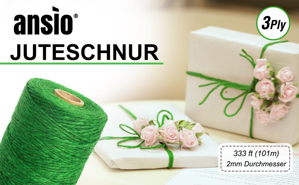 333 Fu/ß Jute-Bindfaden 3-f/ädig 2 mm dick Dekoration Jute-Seil fur Verpackung 3 Rolle- Natur Braun Garten ANSIO Juteschnur Kunst /& Kunsthandwerk Anbinden von Pflanzen