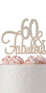 60 cake topper rose gold