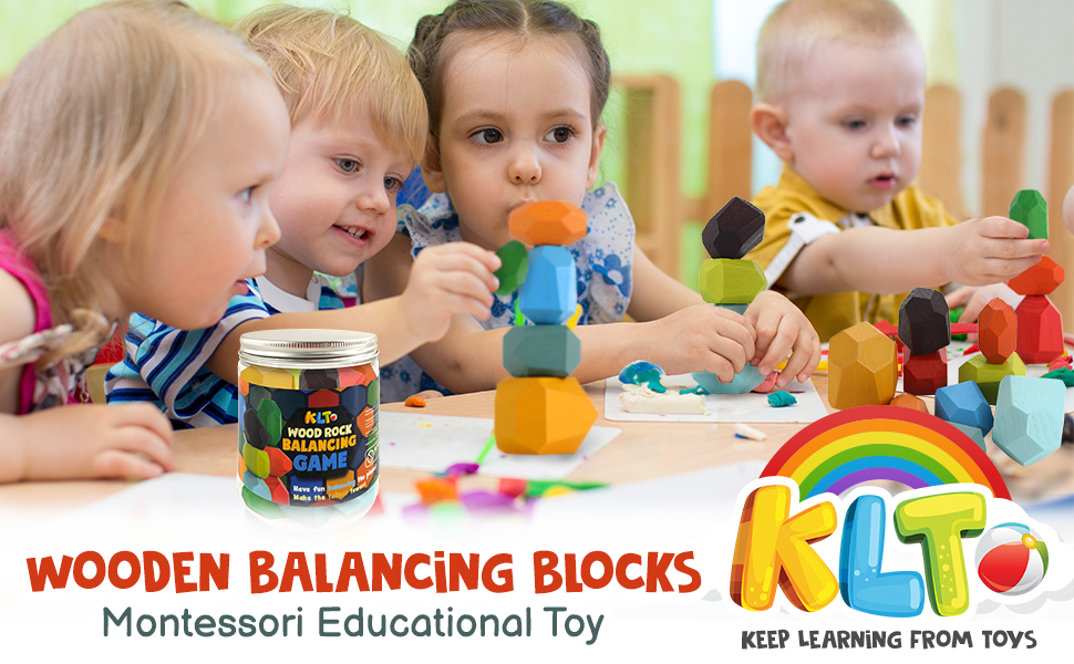 Baby Girl Boy Building Blocks Rock-a-Stack 10pcs Stacking Blocks for Kids with a Useful Storage Bottle Natural Rainbow Educational Toy Wooden Rock Balancing Game Set Family Game for Toddler 1-3