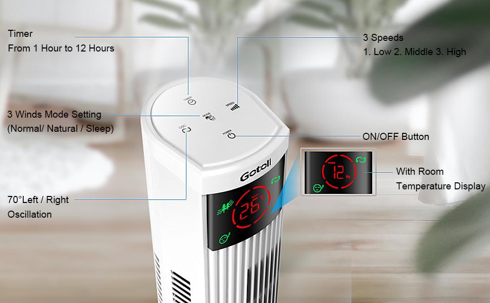 96CM Oscillazione 70/°|3 Velocit/à|3 Modalit/à Operative|12 H Timer|Display LED|Touch Pannello Bianco 45W Gotoll Ventilatore a Torre