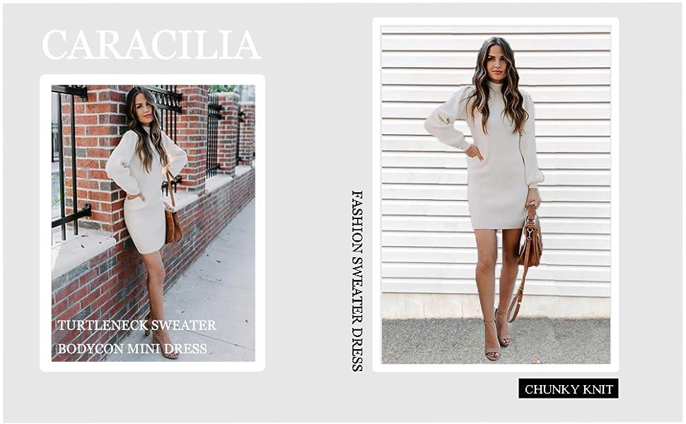 Caracilia Women Cowl Neck Knit Stretchable Elasticity Long Sleeve Slim Fit Sweater Dress