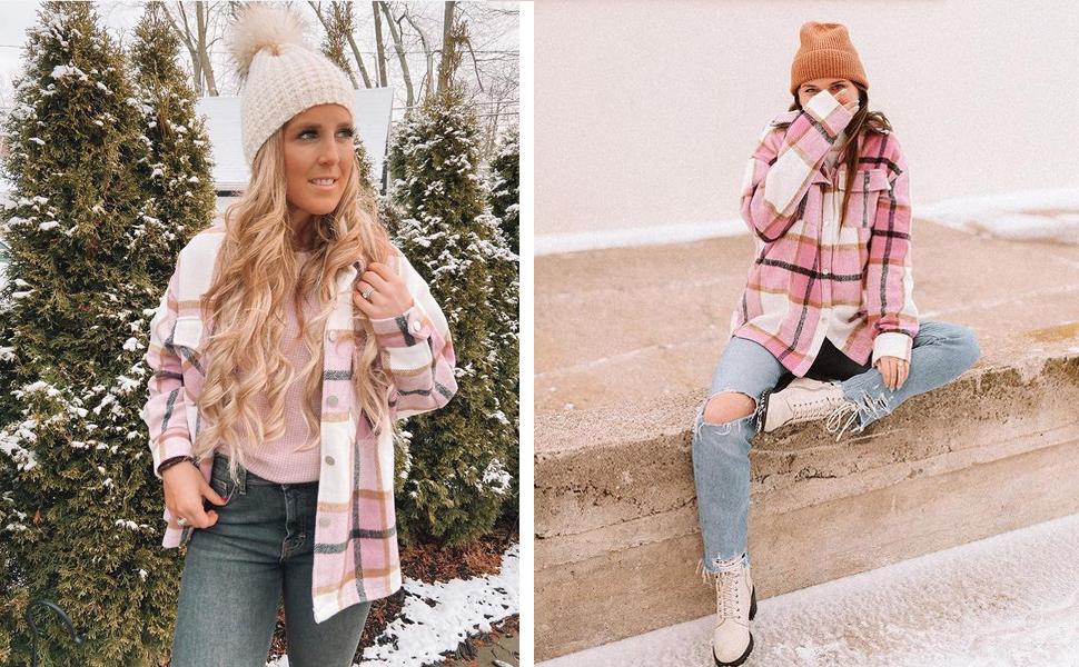 women shirts jacket plaid long sleeve shacket coat button down collar shirt jacket wool blend winter