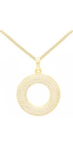 Gold Filled CZ Round Circle Pendant Charm Box Necklase Set Fashion Jewelry Women Birthday Teen Gift