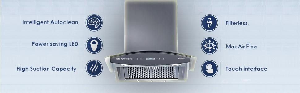 power saving led motion sensor filterless touch interface chimney