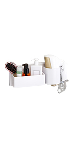 Hair Dryer Holder with Storage Basket Adhesive Bathroom Blow Dryer Rack Wall Organizer Shower Caddy