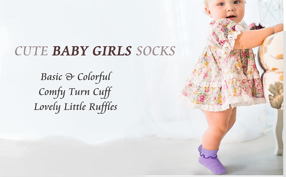 EMAGIXhouse 6-Packs Baby Girls Light-weight Ruffles Socks