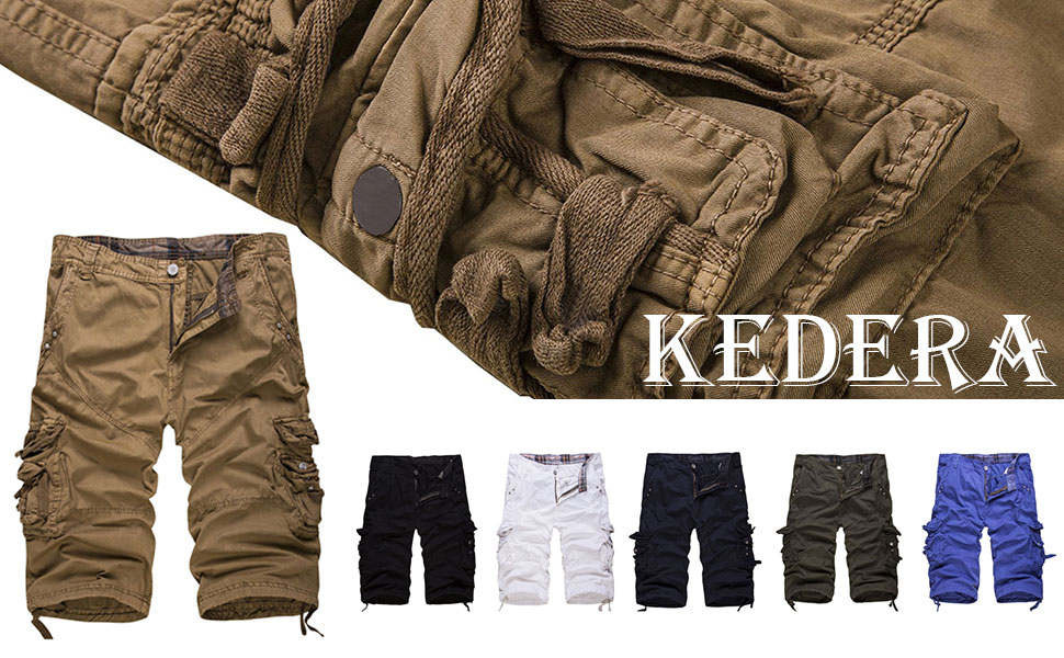 Men's Casual Cotton Loose Fit Solid Multi-Pocket Cargo Shorts