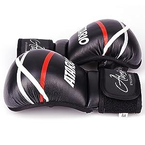 IRON MIKE Premium MMA Handschuhe mit extra Dicker Polsterung f/ür optimalen Schutz Hochwertige Echtleder MMA Sparring Handschuhe MMA Handschuhe Profi aus Leder in edlem Schwarz