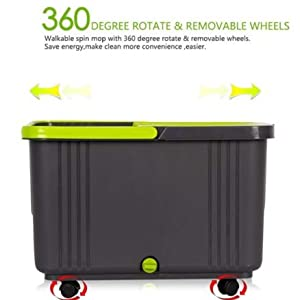 CIPLA PLAST 360° Degree Rotatable Removable Wheels Water Outfall Design Floor Cleaning Bucket Mop