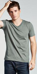 v neck vneck tee tshirt t shirt mens euro cut slim short sleeve soft heather cotton poly undershirt