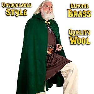 Princess Witch Renaissance Wool cape SCA LARP Cosplay Green Viking costume Warrior  tunic shirt LARP