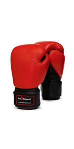 Red Black Genuine Leather Boxing Gloves