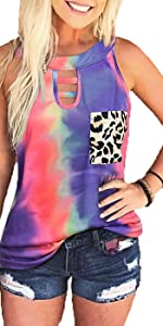 Tie Dye Shirts Womens Tank Tops Camisole Gradient Sleeveless Choker T-Shirt Leopard Pocekts