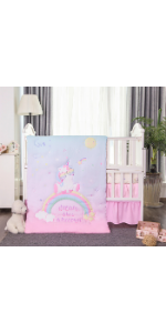 La Premura Baby Unicorn Crib Bedding Set for Girls