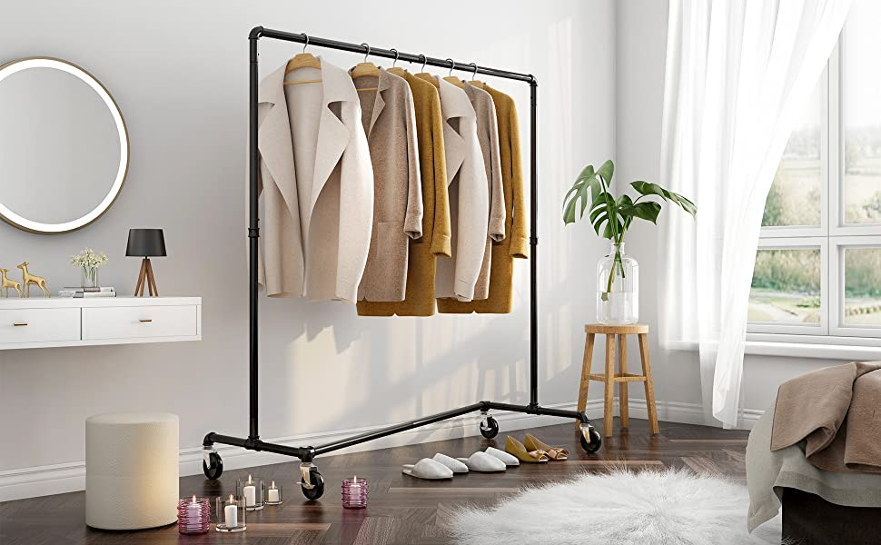 Z-Base Garment Rack Clothes Rack Z Garment Rack Industrial Pipe Style Commercial Rolling Hanging