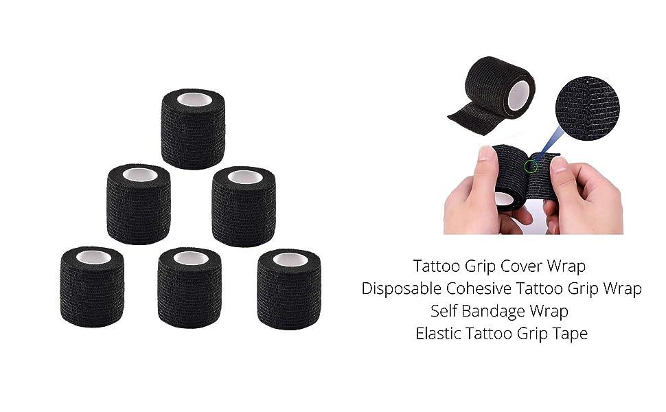 Tattoo Grip Cover Wrap - Romlon 6pcs Disposable Cohesive Tattoo Grip Wrap Self Bandage Wrap Elastic