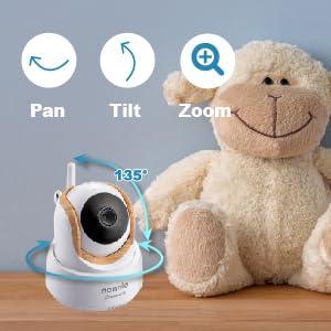 pan tilt zoom wifi baby camera monitor nannio