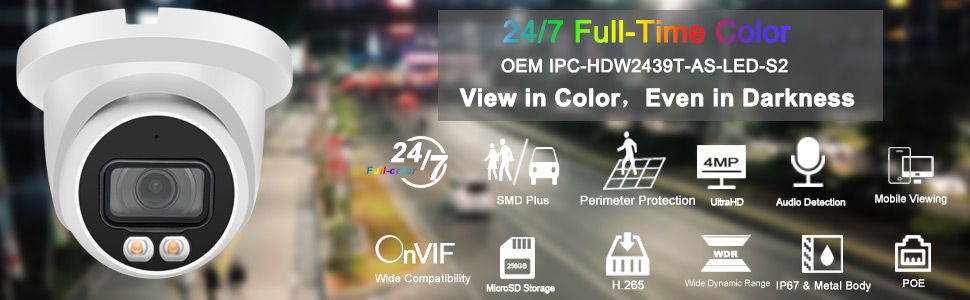 24/7 Full-Time Color Night Vision IP PoE Camera