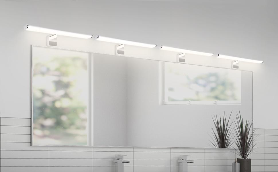 Lampara Aplique Cuarto de Pared Espejo LED Cuarto de Baño Pinza en Espejo 8W 40CM IP44 Impermeable 3 en 1 Instalaciones 700Lm Luz Natural 4000K No Regulable Lot de 1 de Enuotek: