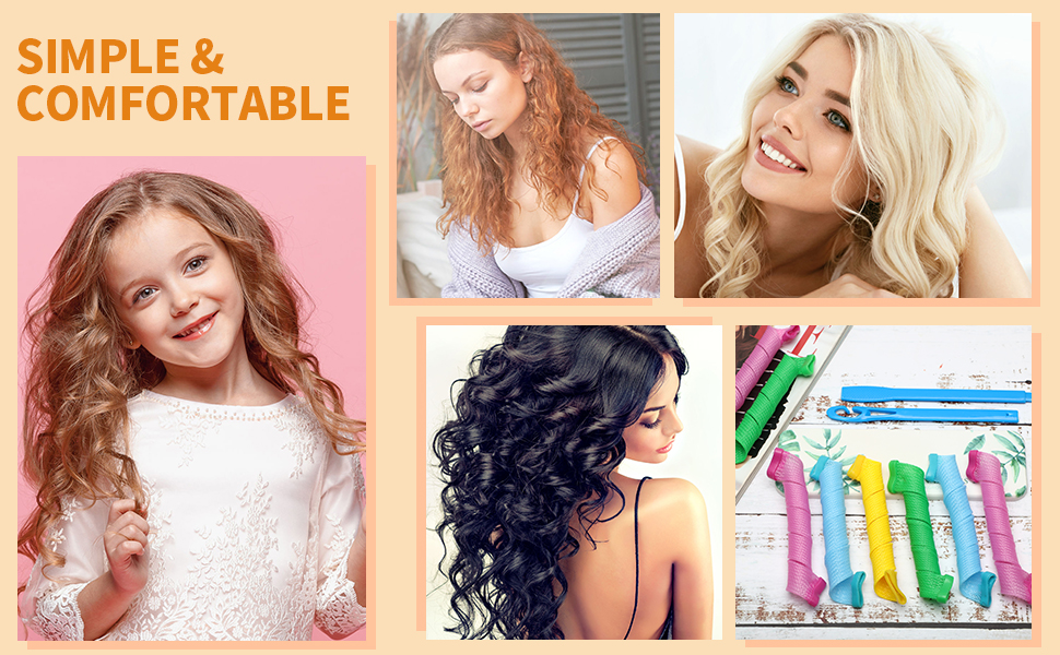 Pieces Hair Curlers Spiral Curls No Heat Wave Hair Curlers Styling Kit