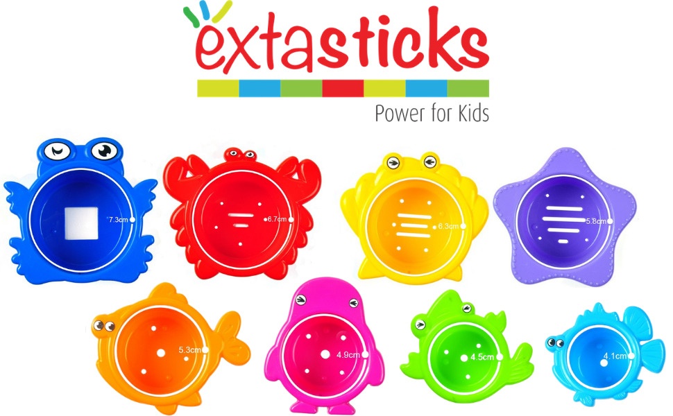 extasticks stacking cups bath tub beach playtime stackers building toys toy kids water toddler