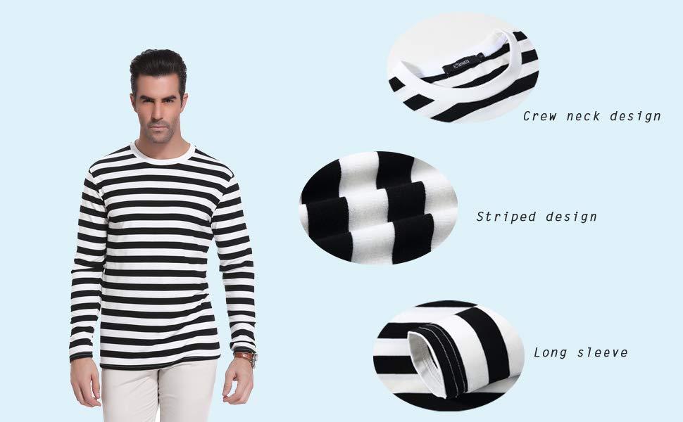 Camisa Rayas de Manga Larga de algodón para Hombre Ligero Básico y Camisa de Manga Corta