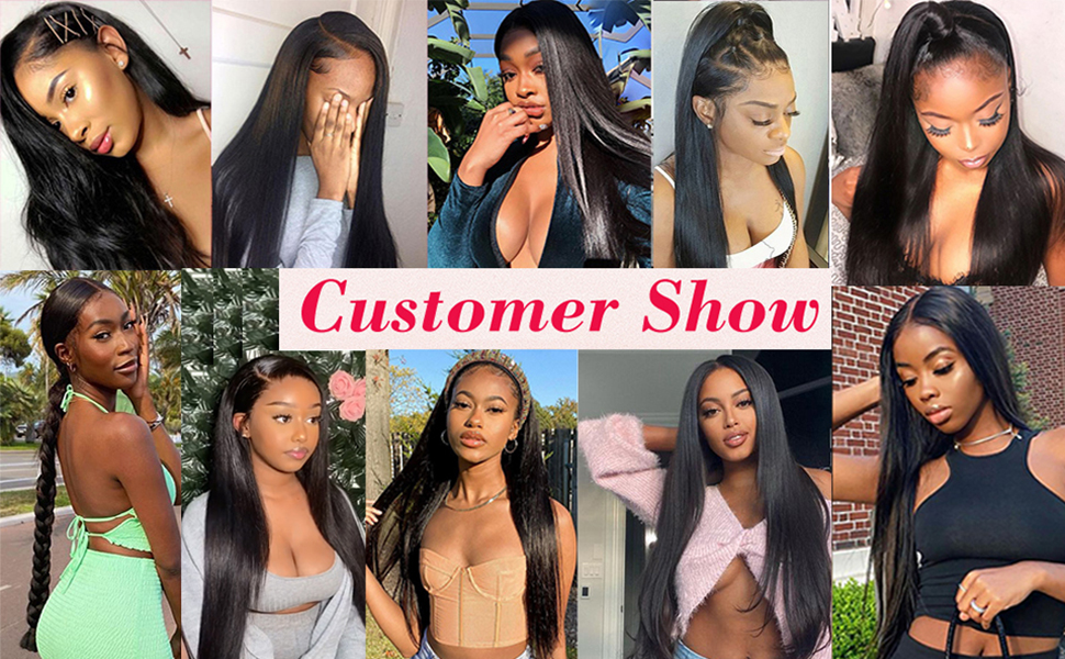 flady straight human hair wigs for black women customer show