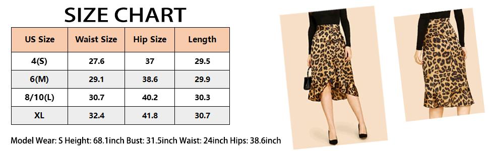 SheIn Women's Leopard Print Ruffle Hem Casual Midi Wrap Skirt